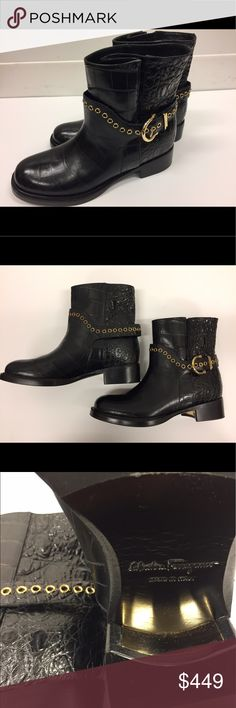 """Ferragamo Biker Boots with Exotic Leather Brand New Leather upper, leather lining, leather and rubber sole Made in Italy Round toe; pull on; chain buckle and grommet trim; crocodile-stamped finish 1.25"""" stacked heel, 0.5"""" platform; feels like 0.75"""" heel Ferragamo Shoes Combat & Moto Boots"""