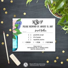 Printable RSVP Card Rustic Mason Jar & Violet Lilac Сountry Wedding Reply Card PDF Response Card Instant Download EDITABLE PostCard Template by AmeliyCom on Etsy