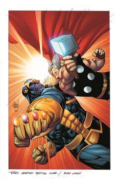 Thor vs Thanos by Adam Kubert
