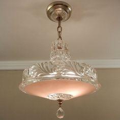 From VintageGlassLights on Etsy: Antique & Vintage Light Fixtures & Chandeliers Vintage Chandelier, Vintage Lamps, Chandelier Lighting, Vintage Decor, Chandeliers, Antique Light Fixtures, Antique Lighting, Ceiling Light Fixtures, Ceiling Lights