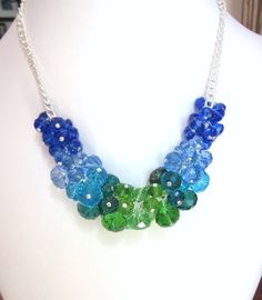 Crystal Creations Cluster Necklace -Shades of Blue and Green Crystal Rondelles - Chunky, Choker, Bib, Bridal, Wedding, Prom, Formals and Fun