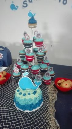 Pastel y Cupcakes temática náutica