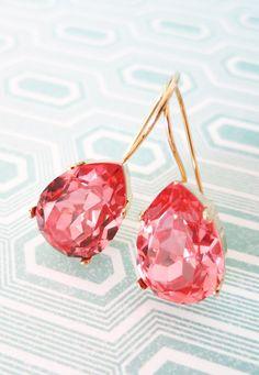 Simple Swarovski Crystal Teardrop Earrings, Rose Peach Pink Crystal Earrings, Gold plated, bride bridesmaid bridal simple earrings