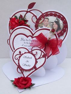 Best of Betsy's - triple heart easel card Fun Fold Cards, Pop Up Cards, Love Cards, Folded Cards, Wedding Anniversary Cards, Wedding Cards, Shaped Cards, Easel Cards, Card Tutorials