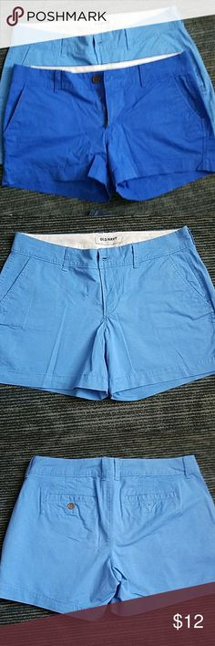 Shorts Both size 4 gently used will seperate and sell. Light blue ones are slightly longer about 4in and dark blue are 3in length. 97% cotton 3% spandex Old Navy Shorts