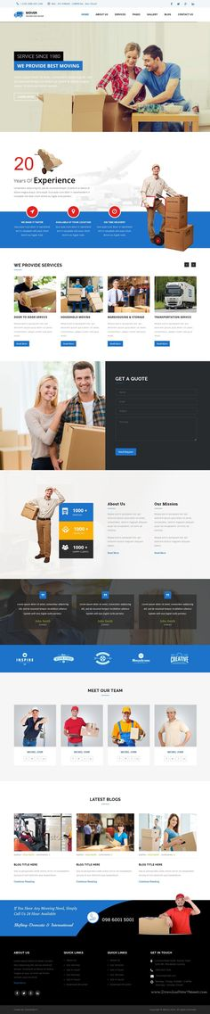 Movers is modern and great business HTML #template for, relocation, moving, #cargo, #courier services #website. Download Now!