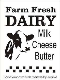 Stencil Farm Fresh Dairy Cow Milk Cheese Butter Holstein Country Primitive Signs | eBay