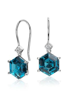 Truly sparkling something blue, these gemstone earrings feature a unique hexagon shape london blue topaz and pavé diamond accent.