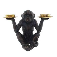 Holding up to two tealights, this quirky tealight holder features a creatively designed monkey.Decorated with a bronze finish with stylish gold holders, this ornament is crafted from durable polyresin and is easy to wipe clean. Tea Light Candles, Tea Lights, Home Decor Accessories, Decorative Accessories, Lions Home, Horror Room, Living Room Ornaments, Monkey 3, At Home Furniture Store