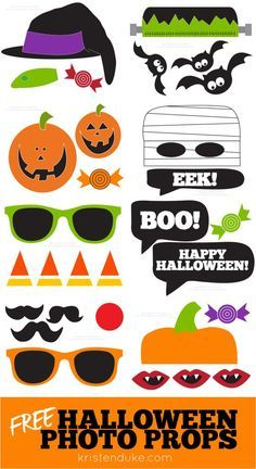 Halloween Photo Booth Free Printable Props - so fun for your Halloween Party!!