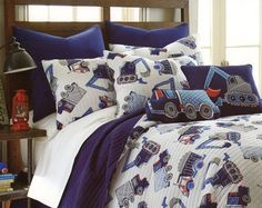 Toddler Bedding Cotton 2pc Boys Quilt Set Twin Trucks Cars Construction Blue NEW