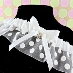 White Polka Dot Garter with Rhinestone Heart