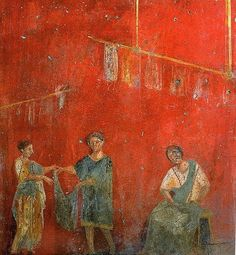 Roman fresco showing two women and a man working together. From the fullonica (dyer's shop) of Veranius Hypsaeus in Pompeii.