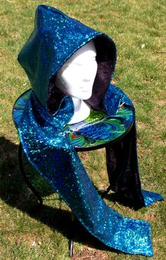Turquoise holographic spandex/black velvet reversible Good Scoodie with grommets and removable chain.