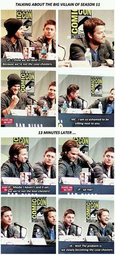 Find images and videos about supernatural, jared and jensen on We Heart It - the app to get lost in what you love. Supernatural Convention, Supernatural Funny, Jensen And Misha, Jensen Ackles, Fangirl, Haha, Winchester Boys, Jared Padalecki, Misha Collins
