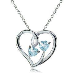 879c5d72f3a1 Sterling Silver Blue Topaz Double Open Heart Necklace. Blue SapphireBlue  TopazNecklacesPendant ...