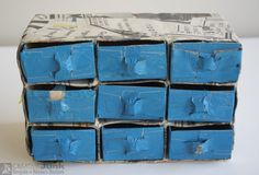 """Chest made from REUSED materials - paper, cardboard,  stickytape <a href=""""https://www.facebook.com/creativejunkchch/"""">Creative Junk facebook</a>   #recyclereuserethink #recycle #reuse #rethink #paper #paint #stickytape"""