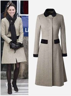 Kate wearing a Chesterfield style, tweed coat by Katerine Hooker (£500)