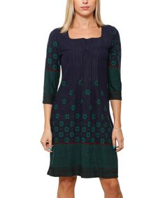 Another great find on #zulily! Navy & Dark Green Dot Arabesque Crewneck Dress by Highness NYC #zulilyfinds