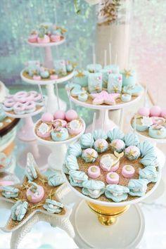 Sweet Display from a Mermaid Oasis Themed Birthday Party via Kara's Pa Sweet mermaids