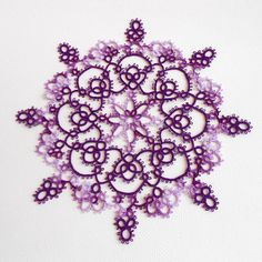 Purple Iris Lace Tatted Doily  FREE SHIPPING by PeachtreeCottage, $22.50