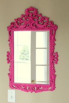 Pink framed mirror