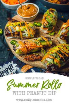 Simple Vegan Summer Rolls (with Oumph!) - Romy London - Simple vegan Summer Rolls with that special Oumph! Served cold alongside a tangy satay dip – simp - Vegan Appetizers, Vegan Snacks, Vegan Dinners, Appetizer Recipes, Vegan Foods, Lunch Recipes, Beef Recipes, Real Food Recipes, Vegan Recipes