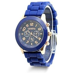 Estone Classic Womens Girls Geneva Silicone Jelly Gel Quartz Analog Sports Wrist Watch (Royal Blue) -- Click image to review more details. (This is an affiliate link) #Accessories