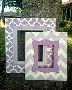 Items similar to Monogram picture frame hand painted and personalized with burlap ribbon in stripes dots or chevron on Etsy Monogram Picture Frames, Chevron Frames, Picture Frame Decor, Frames On Wall, Wooden Frames, Kids Church Rooms, Distressed Frames, Purple Rooms, Simple Pictures