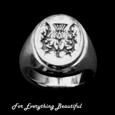 Thistle Design Engraved Oval Medium Sterling Silver Ring