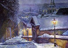 Prague Castle Steps Winter
