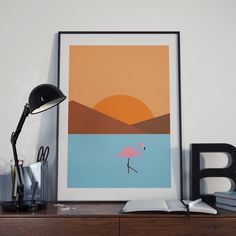 A dream of vacation in Africa. Simple graphic in pastel pantone with a flamingo. Graphic-design, Water, Bird, Flamingo, Sea, Sunset, Beautiful, Summer, Travel, Experience, Life, Lake, Sun, Mountains, Hipster, Modern, Design, Graphic, Comic, Poster, Geometry