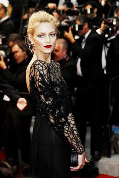 la modella mafia best dressed fashion at Cannes 2012 Film Festival - Anja Rubik sheer black dress 1