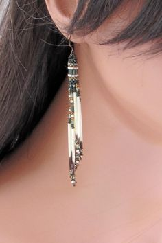 Cascading Olive Green, Bronze and Ecru Quill Earrings - Long Seed Bead Porcupine Quill Earrings