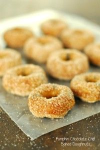 Pumpkin Chocolate Chip Baked Doughnuts