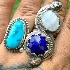 cynpeach - ~~SNAKE SPIRIT~~ AWESOME customer photo of the Snake Spirit ring paired with a beautiful turquoise. Tap for tags! #snake #snakecharm #spiritanimal #texasrattler #moonstone #moonchild #lapis #meditation #tarot #chakra #stonepower #mythology #magic #mystic #metaphysical #riojeweler #silversmith #handcrafted #etsy #boho #bohemian #bohostyle #bohojewlery #gypsystyle #gypsy #gypsyjewelry #freespirit