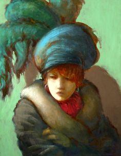 "David Edward Allen, A Woman in Her Green Feathered Hat, 35"" x 45"", www.davidallenartist.com"