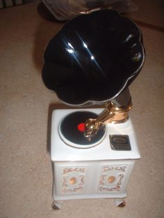 Old RARE to Find Victrola Figural White Gold Black with Legs Liquor Bottle