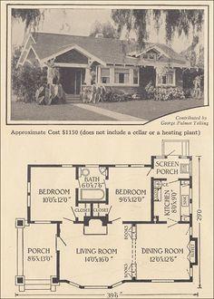 1916 Single Story Bungalow - Ladies Home Journal - George Palmer Telling