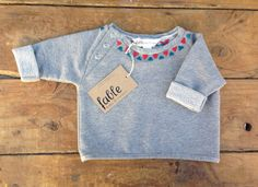 Hand Embroidered Unisex Cropped Sweater - Grey with Red & Turquoise Triangles