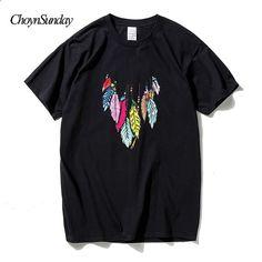 ChoynSunday luova muotoilu Feather print t-paita miehet kesä muoti 3d topit  t-paita puuvilla lyhythihainen lyhythihainen t-paita uros c3d996a20d