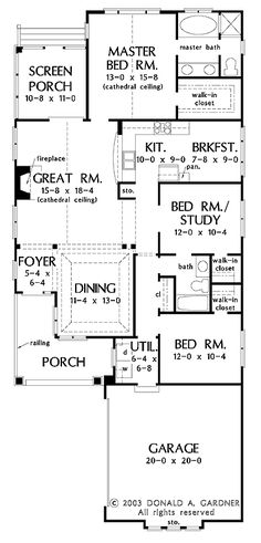 Perfect for Narrow Lots (HWBDO10424) | Bungalow House Plan from BuilderHousePlans.com