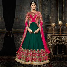 Buy Pink - Green Wedding Anarkali Suit for womens online India, Best Prices, Reviews - Peachmode