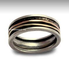 Men's Wedding Band Silver Band Gold Spinner Ring por artisanlook