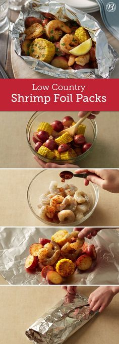 This foil-pack version of the Southern classic brings together andouille sausage, shrimp, corn on the cob and baby red potatoes for an all-in-one meal that's sure to please. To make in oven, place packs on cookie sheet. Bake at 23 to 25 minutes or u Foil Pack Meals, Foil Dinners, Fish Recipes, Seafood Recipes, Dinner Recipes, Sausage And Shrimp Recipes, Andouille Sausage Recipes, Shrimp Meals, Red Potato Recipes