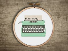 typewriter vintage retro cross stitch pattern ++ modern ++ pdf  INsTAnT DOwNLoAD ++ diy ++ hipster ++ handmade design