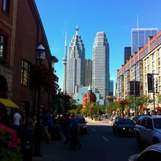 Saturday morning in Toronto from St. Lawrence Market on Front Street.