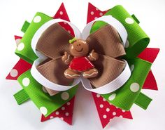 Christmas Hair Bow - Gingerbread Girl Boutique Style Hair Bow. $7.50, via Etsy.