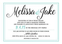 Melissa and Jake Front Brigham City Temple, Lake Stevens, Simple Wedding Invitations, You Are Invited, Open House, Announcement, Utah, Marriage, Archive