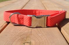 Coral Dog Collar Bright Pink Checkers Female Pet by WalkintheBark